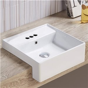American Imaginations Sleek White Drop-In Or Undermount Square Bathroom Sink - Chrome Hardware - 16.14-in - Overflow Included