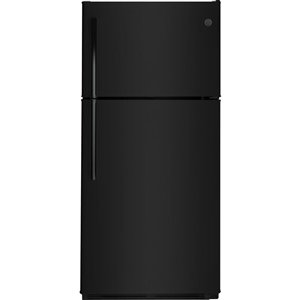 GE 18.0-cu ft Top-Freezer Refrigerator (Black) ENERGY STAR