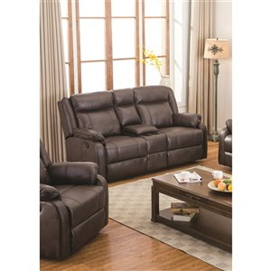 Mazin Industries Duncan Modern Brown Faux Leather Loveseat