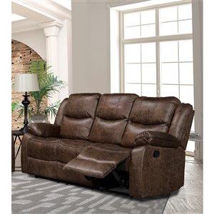 Mazin Industries Klaus Modern Antique Brown Microfiber Sofa