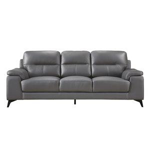 Mazin Industries Dawson Modern Dark Gray Leather Sofa