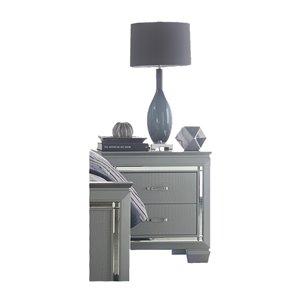 Mazin Industries Allura Silver Asian Hardwood Nightstand