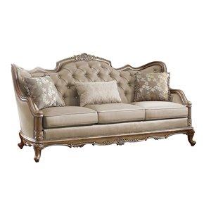 Mazin Industries Fiorella Midcentury Dusky Taupe Polyester Sofa