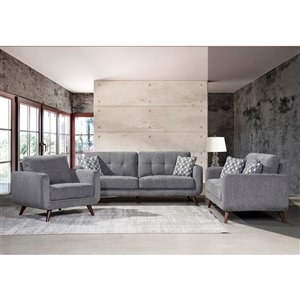 Mazin Industries Morrison Midcentury Gray Polyester/Polyester Blend Sofa