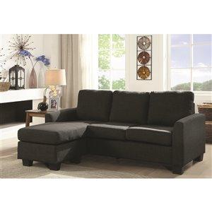 Mazin Industries Promytheus Modern Dark Gray Linen Sofa