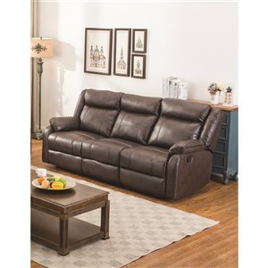 Mazin Industries Duncan Modern Brown Faux Leather Sofa