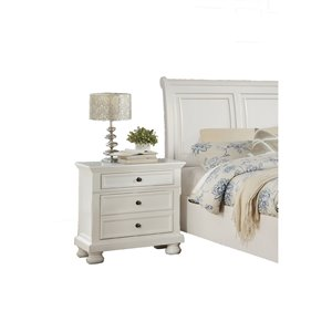 Mazin Industries Laurelin White Asian Hardwood Nightstand