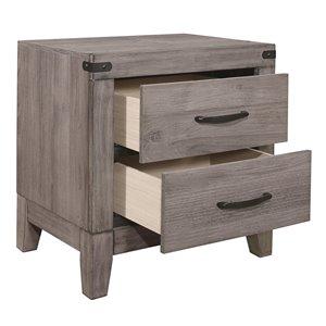 Mazin Industries Woodrow Gray Asian Hardwood 22.25-in Nightstand
