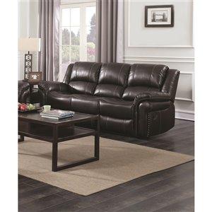 Mazin Industries Cora Modern Brown Faux Leather Sofa