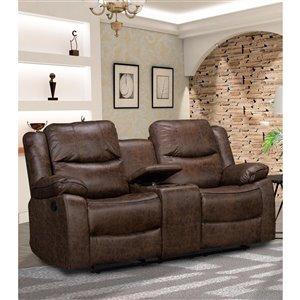 Mazin Industries Klaus Modern Antique Brown Microfiber Loveseat