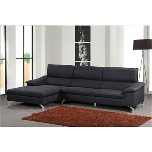 Mazin Industries Opus Modern Black Polyester Sectional