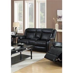 Mazin Industries Duncan Modern Black Faux Leather Loveseat