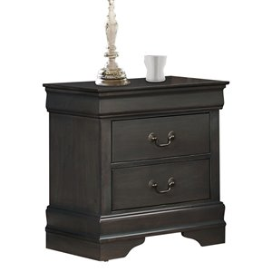 Mazin Industries Mayville Gray Asian Hardwood Nightstand
