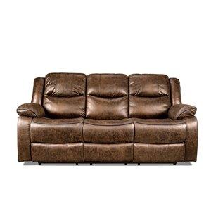 Mazin Industries Klaus Chic Antique Brown Microfiber Sofa