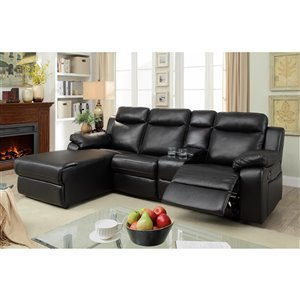 Mazin Industries Provost Casual Black Faux Leather Sectional