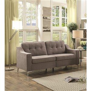 Mazin Industries Lilliana Modern Medium Gray Microfiber Sofa