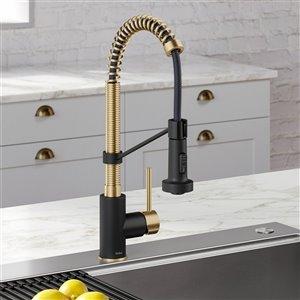 Kraus Single Handle Kitchen Faucet - Antique Champagne Bronze/Matte Black