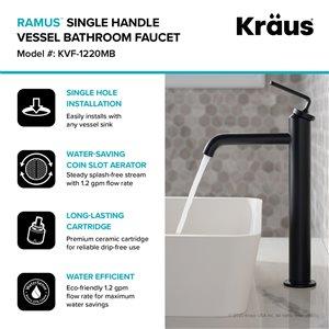 Kraus Ramus Single Handle Vessel Bathroom Faucet with Pop-Up Drain - Matte Black