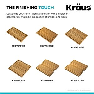 Kraus Workstation Kitchen Sink Solid Bamboo Cutting Board - 16-in - Brown