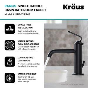 Kraus Ramus Single Handle Bathroom Faucet with Drain - Matte Black