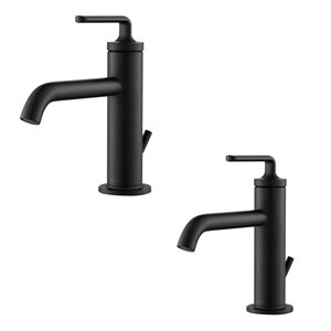 Kraus Ramus Single Handle Bathroom Faucet with Drain - 2 Pack - Matte Black