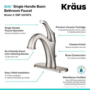 Kraus Arlo Single Handle Faucet with Drain with Deck Plate - 2 Pack