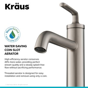 Kraus Single Handle Vessel Bathroom Faucet with Drain - 2 Pack - Stainless