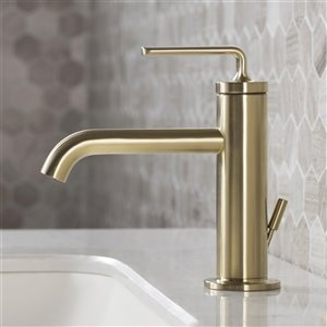 Kraus Ramus Single Handle Bathroom Faucet with Lift Rod Drain - Brushed Gold