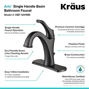 Kraus Arlo Single Handle Faucet with Drain/Deck Plate - 2 Pack - Matte Black