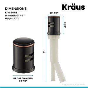 Kraus Dishwasher Universal Air Gap - Oil Rubbed Bronze