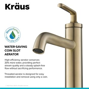 Kraus Ramus Single Handle Vessel Faucet with Drain - 2 Pack - Brushed Gold