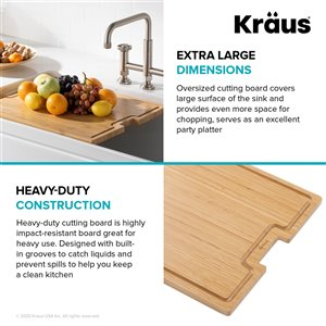Kraus Workstation Solid Bamboo Cutting Board - 17-in - Brown