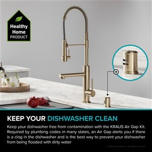 Kraus Dishwasher Universal Air Gap - Brushed Gold