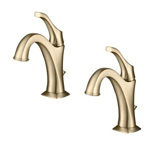 Kraus Arlo Bathroom Faucet with Drain and Deck Plate - 2 Pack - Brushed Gold