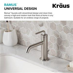Kraus Ramus Single Handle Bathroom Faucet with Drain - Stainless Steel