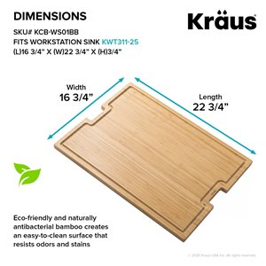 Kraus Workstation Bamboo Kitchen Cutting Board - 17-in - Brown