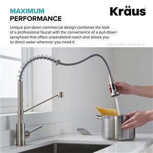 Kraus Pull-Down Kitchen Faucet with Filter - Antique Champagne Bronze