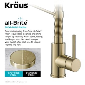 Kraus Single Handle Kitchen Faucet with Deck Plate - Antique Champagne Bronze