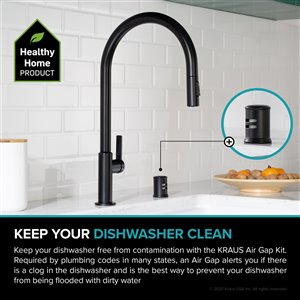 Kraus Dishwasher Universal Air Gap - Matte Black