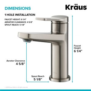 Kraus Indy Single Handle Bathroom Faucet - 2 Pack - Stainless Steel