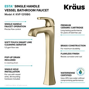 Kraus Esta Single Handle Vessel Faucet with Pop-Up Drain - 2 Pack - Brushed Gold