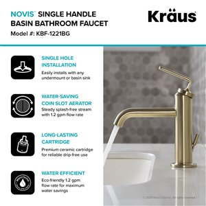 Kraus Ramus Single Handle Bathroom Faucet with Drain - 2 Pack - Brushed Gold