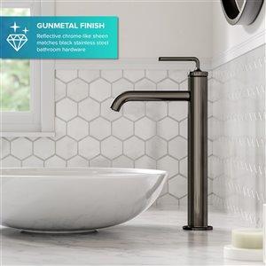 Kraus Ramus Single Handle Vessel Bathroom Faucet with Pop-Up Drain - Gunmetal