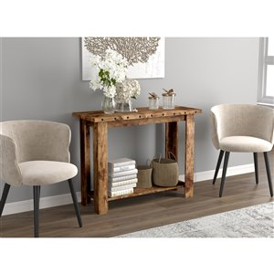 Safdie & Co. Console Table - 1 shelf - 30-in x 40-in - Brown Reclaimed Wood