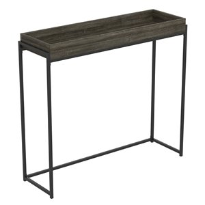 Safdie & Co. Console Table - Sunken Tray - 35.5-in x 39.5-in - Dark Grey and Black Metal