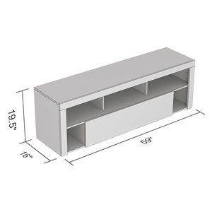 Safdie & Co. TV Stand - 1 Drawer and 5 Shelves - 59-in x 21-in - Dark Grey
