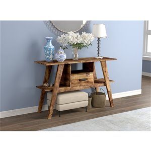 Safdie & Co. Console Table - 3 shelves and 1 drawer - 30-in x 47.5-in - Brown Reclaimed Wood