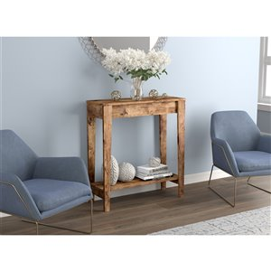 Safdie & Co. Console Table - 1 shelf - 34-in x 31.25-in - Brown Reclaimed Wood