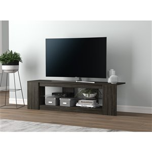 Safdie & Co. TV Stand - 2 Shelves with Tampered Glass - 55-in x 16-in - Dark Grey