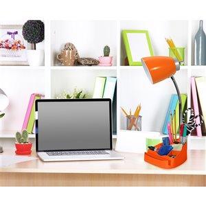 LimeLights Gooseneck Organizer Desk Lamp with Holder and Charging Outlet - Orange
